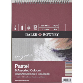 "12"" * 9"" Ingres Pastel Paper Spiral Pad 6 Assorted Colours"