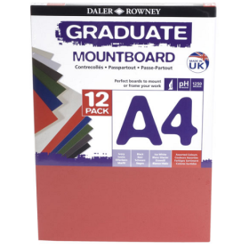 329412900 A4 Graduate Mount Board Pack of 12 Assorted
