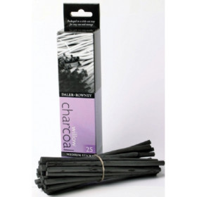 808020025 Daler Rowney Willow Charcoal 25 Medium Sticks