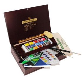 130900555 Artists Watercolour Wooden Box Small Half Pan Set