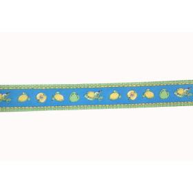 610-57 Ribbon Satin Lemon & Apple Blue 25 mm / Per metre