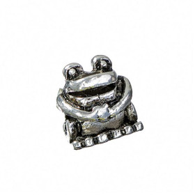 6141423 Metal Bead Frog Antique Silver