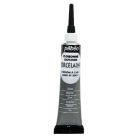 036-010 Pebeo Porcelain 150 Outliner Pewter 20ml