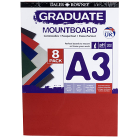 329308900 A3 Graduate Mount Board Pack of 8 Assorted