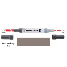 Zig Kurecolor KC3000/W09 Twin S Marker Pen - Warm Grey 9
